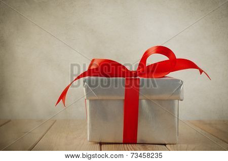 Silver Gift Box With Red Bow - Vintage