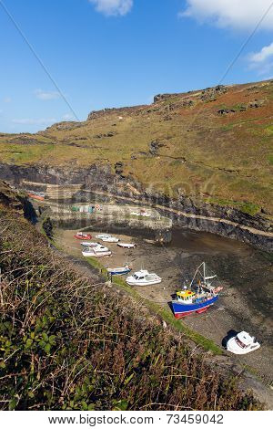 Boats in Boscastle harbour North Cornwall between Bude and Tintagel England UK