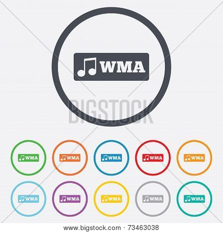 Wma music format sign icon. Musical symbol.