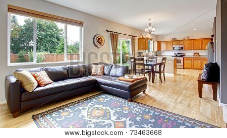 Living Room And Kitchen With Dining Area