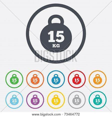 Weight sign icon. 15 kilogram (kg). Sport symbol
