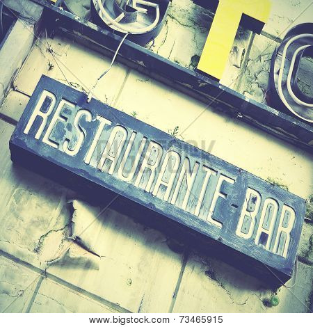 Sign of deserted restaurant. Retro style image