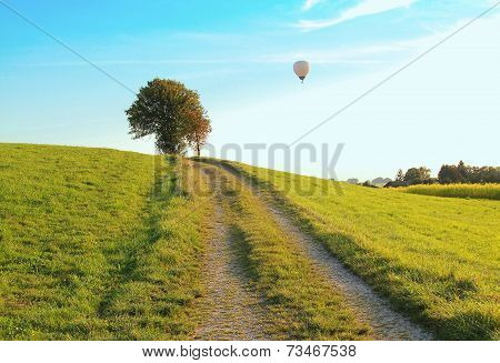 Walkway Through Rural Landscape, Hotair Balloon