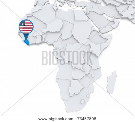 Liberia On A Map Of Africa
