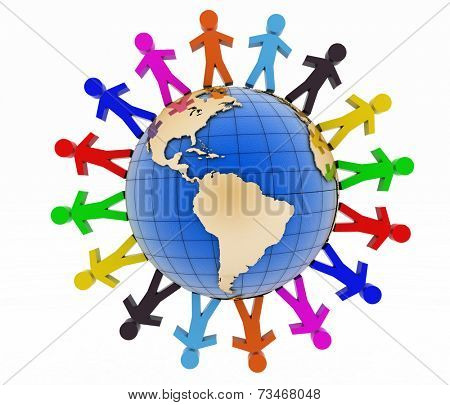 Global communication concept. World partnership. 3d image isolated on white background.