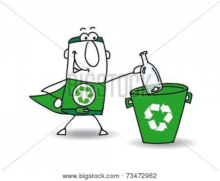 recycling a glass bottle. Recycle-Man the superhero recycles a glass bottle in a specific trash