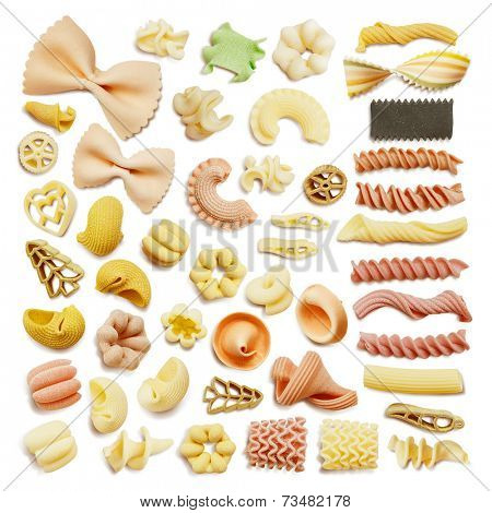Close-up of a dried assorted italian pasta isolated on white