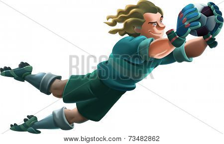 Young goalkeeper jumps and blocks the ball smiling