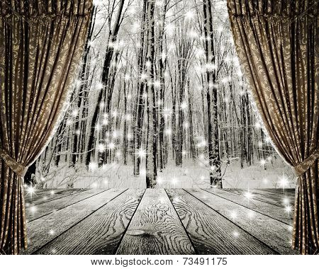 Open curtains on the background winter forest and stars