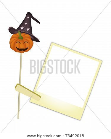 Happy Jack-o-Lantern Pumpkin with Blank Photos