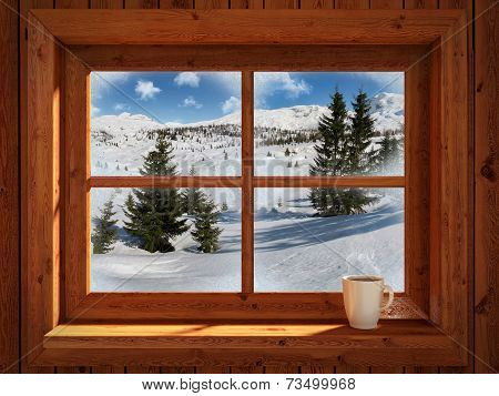 Winter landscape View Through Rustic Window