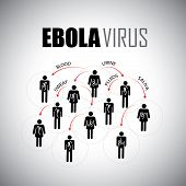 ebola epidemic concept of spreading among people - vector graphic icon. This graphic illustrates how the virus spreads thru body fluids like saliva sweat blood urine semen etc poster