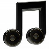 icon of music performed with musical note and speakers made in 3d poster