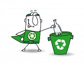 recycling a glass bottle. Recycle-Man the superhero recycles a glass bottle in a specific trash poster