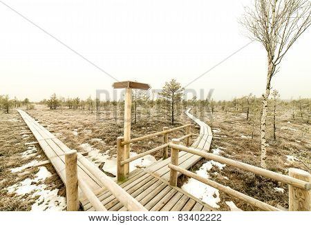 Wooden Boardwalk With Empty Direction Sign