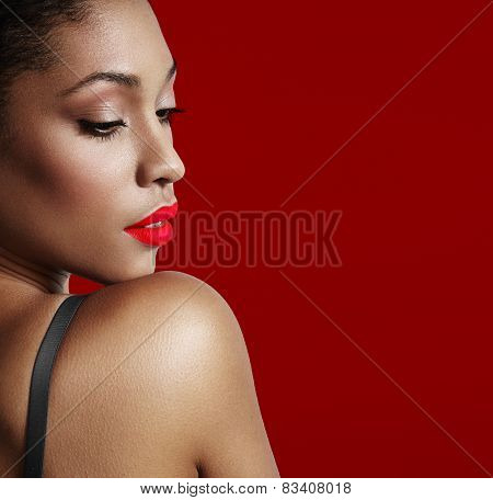 pretty black woman with a bright matte lips poster