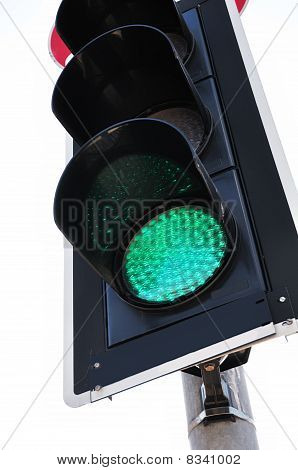 Traffic Light Showing Green, Low Angle View
