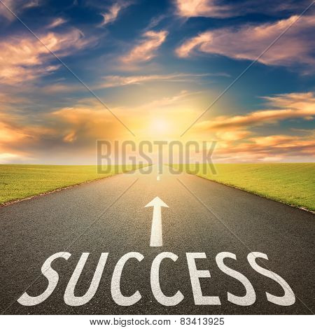 Empty Road At Sunset And Sign For Success