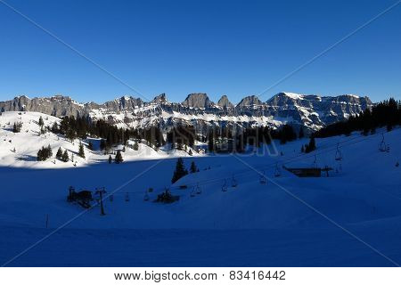 Churfirsten, View From The Ski Area Flumserberg