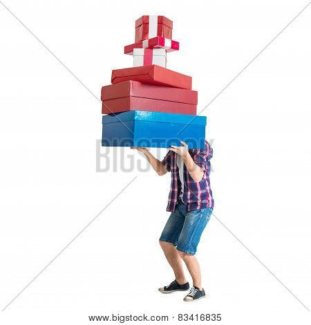 Man holding many colorful and heavy bags gift present boxes after shopping.