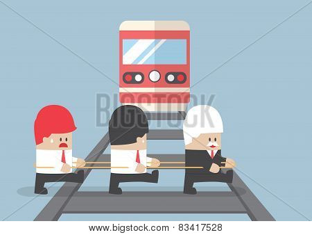 Business Leader Crossing Railroad By Ignoring His Team.