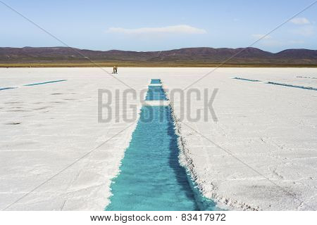 Water Pool On Salinas Grandes Jujuy, Argentina.