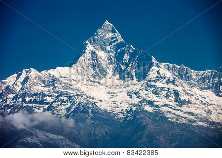 Machhapuchchhre mountain - Fish Tail in English is a mountain in the Annapurna Himal Nepal poster