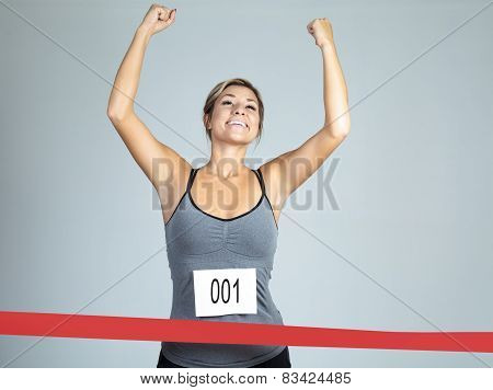 Fit woman marathon runner - isolated over white background