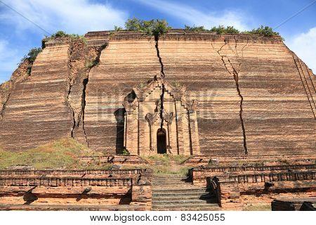 Ruined Mingun pagoda Unfinished pagoda in Mingun paya Temple, Mandalay - Myanmar