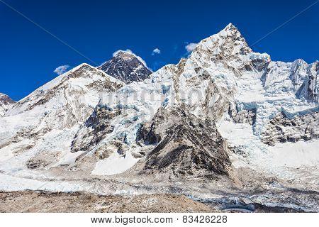 Everest Nuptse and Lhotse landscape Himalaya Nepal poster