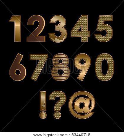 Gold font digits