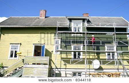 Old house being painted