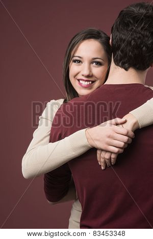 Smiling Girl With Her Boyfriend