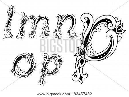 Decorative alphabet letters with floral elements