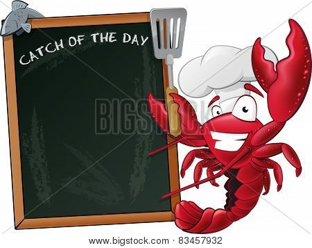 Cute Lobster Chef With Sign Board.
