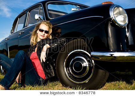 Woman And Classic Car