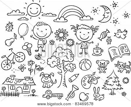 Black and white doodle set