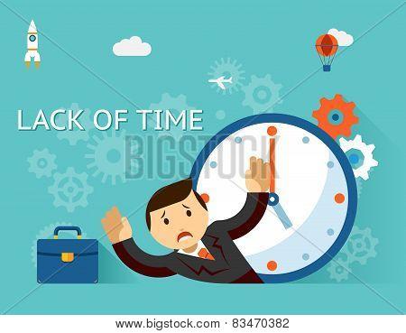 Timemanagement. Lack of time concept. Businessman and clock