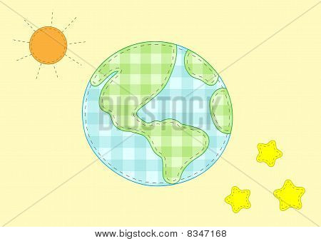 Planet Earth, Sun And Stars
