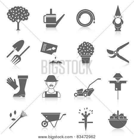 Vegetable garden icons set