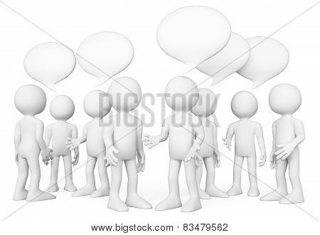 3D White People. Group Of People Talking. Chat Concept