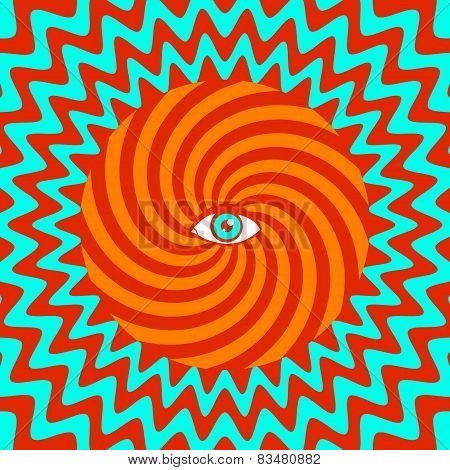 hypnotic retro poster with eye