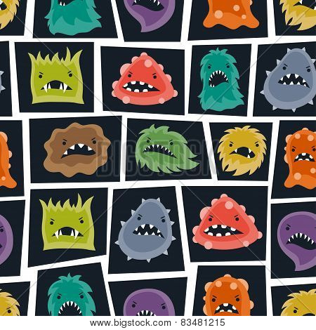 Seamless pattern with little angry viruses and monsters.