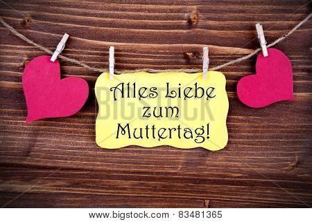 Yellow Label With Alles Liebe Zum Muttertag