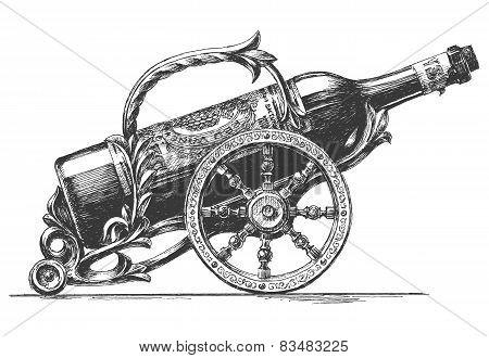 bottle of wine vector logo design template. Vineyard or winemaker icon.
