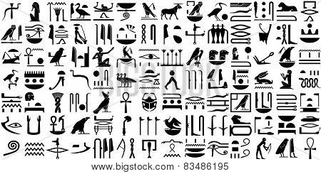 Silhouettes Of The Ancient Egyptian Hieroglyphs  Set1