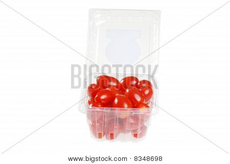 cherry tomatoes in a plastic container