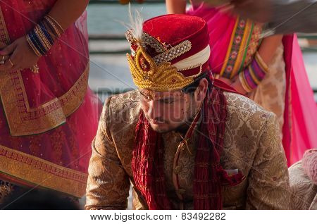 The Groom In A Traditional Indian Wedding