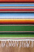 Mexican background with traditional serape blanket or rug on a wood floor. Space for copy. poster
