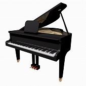 Black Grand-piano isolated on a white background poster